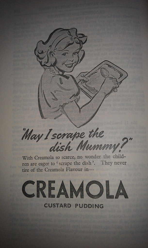 Advert for Creamola custard pudding