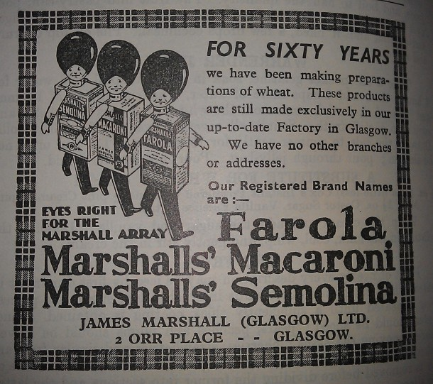 Picture of advert for Farola macaroni